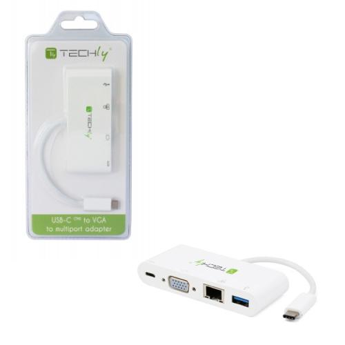 Techly USB-C to USB 3A W/VGA/RJ45/USB C