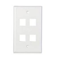 Flush Wall Plate 4 Port White-10 pack