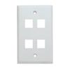 Flush Wall Plate 4 Port White-10 pack